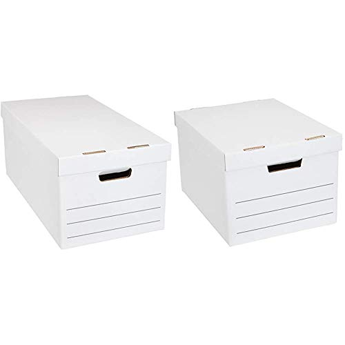 Amazon Basics Medium Duty Storage Filing Box with Lid - Pack of 12, Letter / Legal Size & Heavy Duty Storage Filing Box with Lift-Off Lid - Pack of 12, Letter / Legal Size