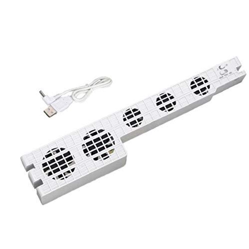 NaisiCore La Simplicidad de refrigeración Soporte Externo USB 5-Fan Super Turbo con el Cable USB Compatible con Playstation 4 Pro Consola de Juegos Blancos Accesorios de refrigeración