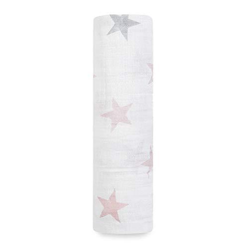 aden + anais - Maxi-lange pour Bébé, 100% Mousseline de Coton, Doux et Confortable, Adapté pour les Nouveaux-nés, pour Fille, Blanc et Rose, 112x112 cm