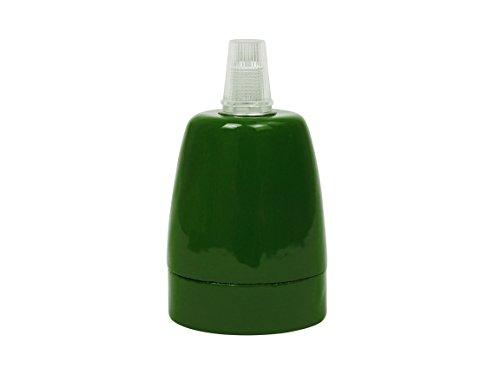 """Porzellan-Fassung\""""Grün\"""" (hochwertige Keramik, glasiert) für Glühbirnen/LED mit E27 Gewinde, bis 100 W, incl. Zugentlastung, z.B. für Pendel-Leuchten, CE (Anzahl: 1 Stück)"""