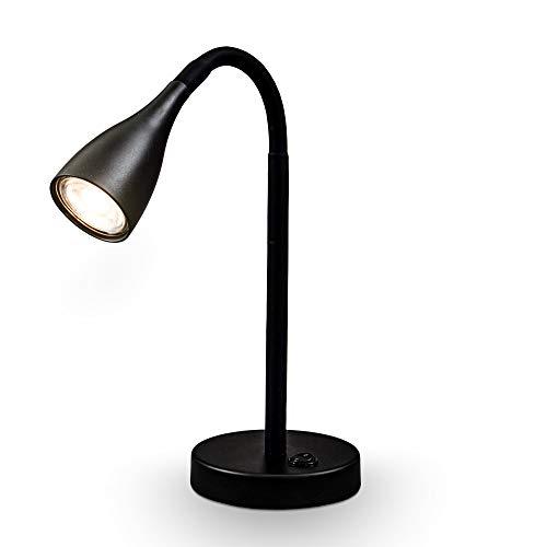 B.K. Licht I Tischlampe I LED Tischleuchte I Nachttischlampe I flexible Schreibtischlampe inkl. GU10 LED I 5W I 400lm I 3.000K I Schwarz