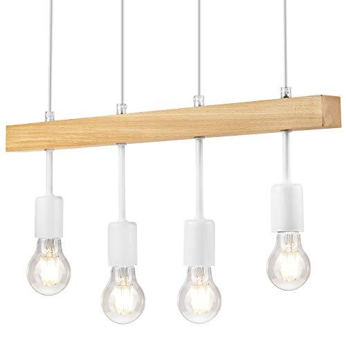 Pendel-Leuchte, Decken-Leuchte Weiss 4-Flammig, E27 Fassung, Sknadinavischer Stil, Deckenleuchte, Deckenlampe, Kronleuchter aus Stahl/Holz - ohne Leuchtmittel