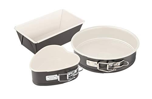 Dr. Oetker Mini-Backformen-Set Exclusive, Backformen mit keramisch verstärkter Antihaftbeschichtung, Kuchenformen für kleine Kuchen (Farbe: Grau/Crème), Menge: 1 x 3er Set