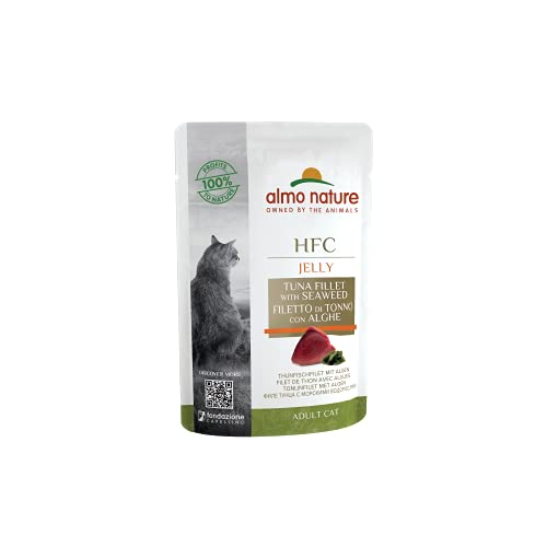 almo nature Comida Húmeda para Gatos Natural de Atún y Algas Marinas (24 sobres x 55g). Alimento para Gatitos Gourmet Monoproteíco HFC Cuisine. Snack Complementario sin Gluten