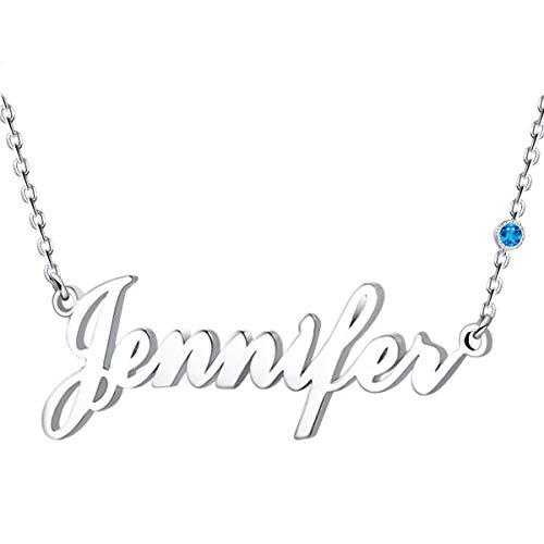 Halskette Mit Namen, Silber Personalisierte Kette,18K Rosegold/Gold Vergoldet Kette mit Name, Geschenk für Freuen, Herren, Freundin, Mutter, Schwester