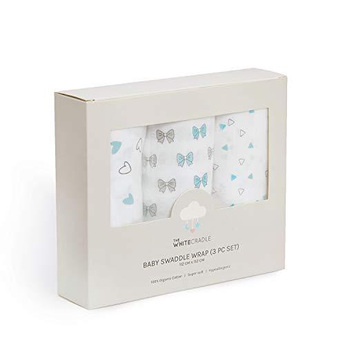 The White Cradle Mantas de Muselinas de Algodón Orgánico puro para Bebé, 112x112 cm, Extra Grandes - 3 diseño azul, súper suave y absorbente, toalla para recien nacido, Paquete de 3