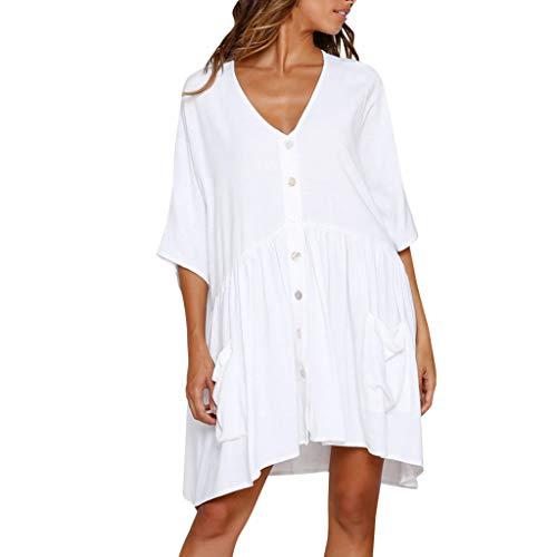 Women's Summer Bohemian White Elegant Dress V Neck Button Dress Party Ruffle Beach Dress Office Work Skirts Dress