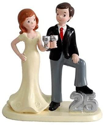 MIRVEN - Figura Pastel 25 Aniversario - Figuras Tartas Pastel Bodas de...