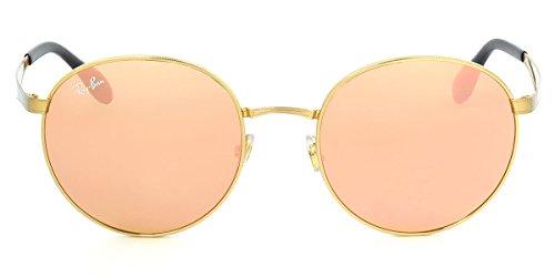 Ray-Ban RB3537 Gafas de sol brillante dorado con espejo rosa (001/2Y) 3537 0012Y 51mm Auténtico