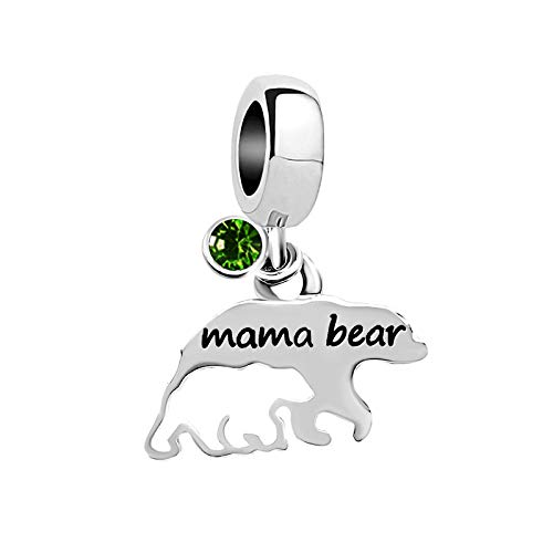 KunBead Mama Bear Mom Baby Child Bead Charms for Bracelets for Women Birthstone Crystal Charm Beads Gifts green