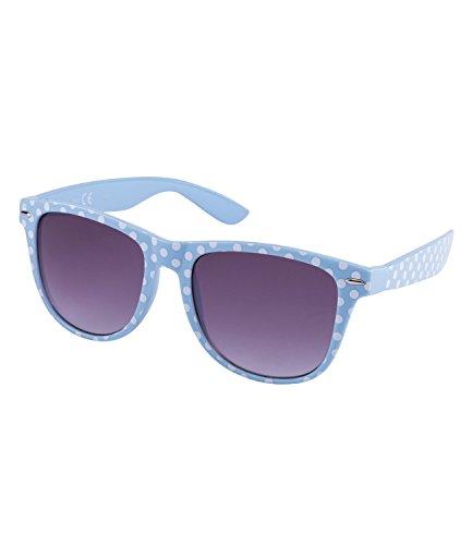 SIX Gafas de sol retro en azul claro con lunares blancos y lentes con degradado gris (324-245)