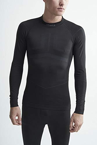 Craft Men's Active Intensity Long Sleeve Crew Neck Base Layer Shirt, Black/Asphalt, Medium