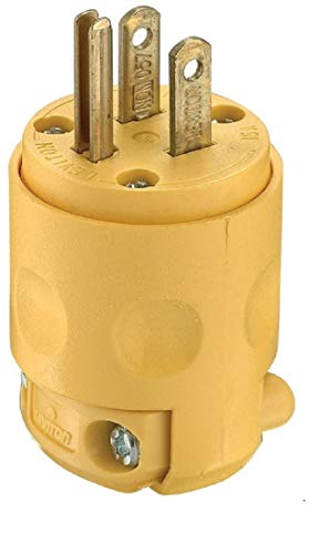 Leviton 515PV Polarized Electrical 15 Amp, 125 Volt, NEMA 5-15P, 2-Pole, 3-Wire, Plug, Straight Blade, Yellow, 24 pack