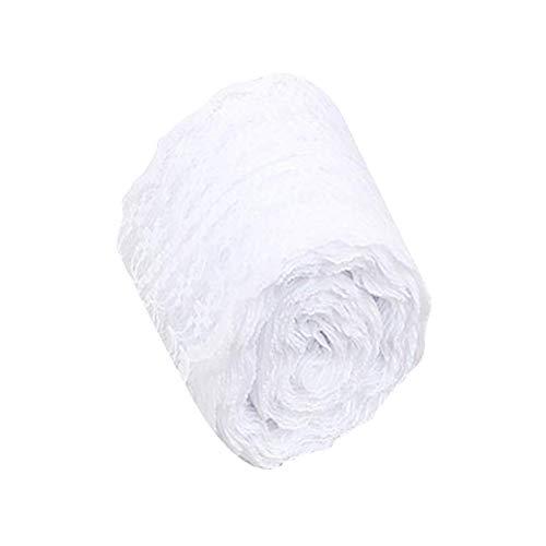 Wisilan - Rollo de cinta de encaje de yute natural (10 m), color azul blanco