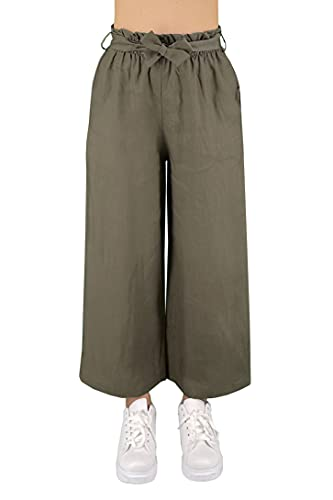 JOPHY & CO. Pantaloni 100% Lino Donna Vita Alta e Elastica (cod. 6322) (Militare, 2XL)