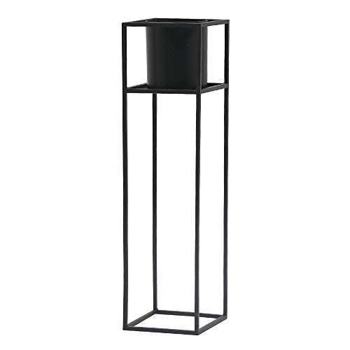 roomnhome(ルームアンドホーム) フラワーベース ブラック 21.6×21.6×80cm 鉢カバー 植木鉢 スタンド 観葉植物 キューブ 800