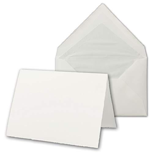 15x Vintage Kartenset aus echtem Bütten-Papier - DIN A6 Falt-Karten + DIN C6 Brief-Umschläge gefüttert - hoch-doppelt - Naturweiß - Original Zerkall-Bütten