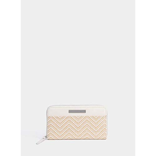 TIFFOSI Women Wallet - Cartera para mujer, color beige y blanco