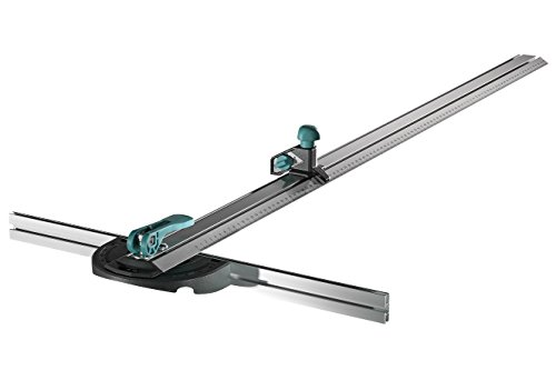 Wolfcraft 4008000 riel en T paralelo, longitud 1000 mm, ancho máx. 970 mm, cortes angulares de 0 a 180°, incluye cuchilla trapezoidal PACK 1, plata