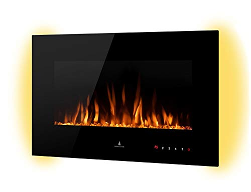 Noble Flame Vegas 770 Schwarz - Elektrokamin Wandkamin Kaminofen Kamin - Wandmontage Fernbedienung - Verschiedene Breiten