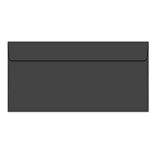 neuser Sobres en negro | 25, 50o 100unidades, alta calidad Co en formato DIN largo con superficie mate & estraza | Post de sobres para ocasiones especiales. & fija, sin ventana, color negro DL
