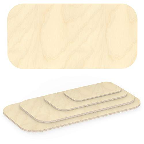 AUPROTEC Multiplexplatte 30mm rechteckig 400 mm x 200 mm Holzplatten von 40cm-200cm auswählbar Ecken Radius 100mm Sperrholz-Platten Birke Massiv Multiplex Holz Industriequalität z.B. als Tisch-Platte