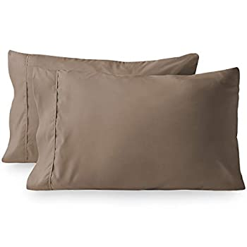 Bare Home Premium 1800 Ultra-Soft Microfiber Pillowcase Set - Double Brushed - Easy Care  King Pillowcase Set of 2 Taupe