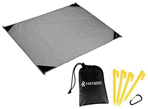 freemind Manta de picnic para exteriores, ultraligera, de nailon, impermeable, compacta, sin arena, incluye bolsa, 4 piquetas, mosquetón (gris-negro)