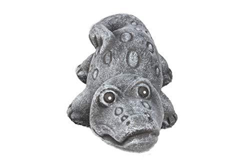 Steinfigur Krokodil, 132/1 Gartenfigur Steinguss Tierfigur Basaltgrau