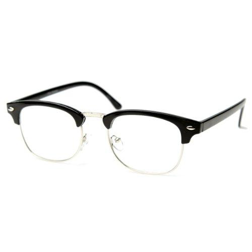 Vintage Inspired Classic Half Frame Horn Rimmed Clear Lens Glasses (Black-Silver)