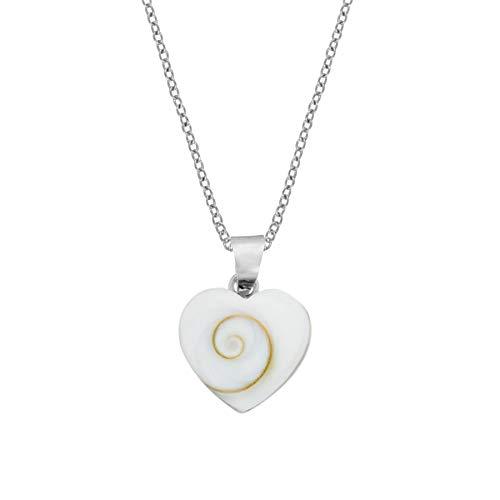 81stgeneration Frauen .925 Sterling Silber Kleines Herz Shiva Auge Muschel Anhänger Halskette, 46 cm