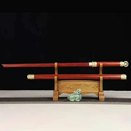 XGMSD Katana Dritta in Mogano Fatta a Mano,Lunghezza 102 cm,con Fodero Iaido Bokken,Spada da Samurai in Legno per Pratica Kendo per Halloween,Cospiay,Regalo di inaugurazione della casa