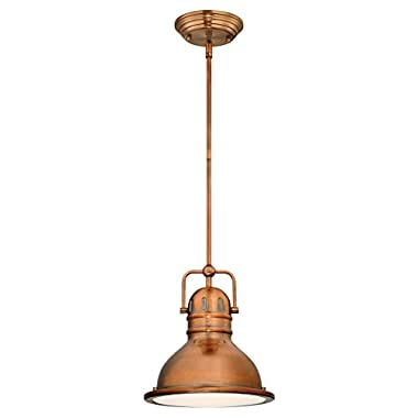 Westinghouse 63084B Boswell One-Light LED Indoor Mini Pendant with Frosted Prismatic Lens, 8.75-Inch Copper with 11W LED