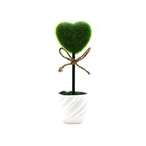 VOSAREA Artificial Plant Potted Artificial Boj Topiary Tree Artificial Heart Shape Tree Fake Fresh Green Grass Flower in White Plastic Pot for Home