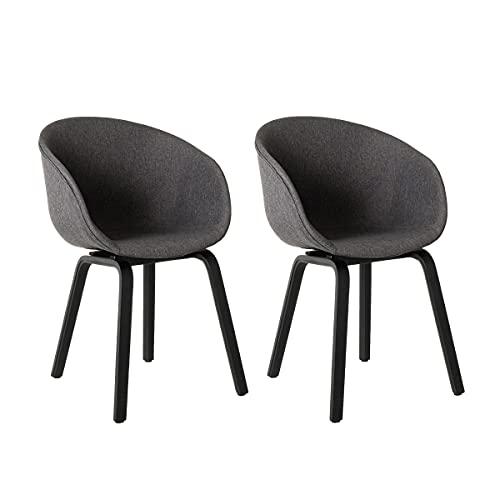 Pack de 2 sillas de Comedor tapizadas Grises de Tela y Madera de Haya de 50x52x81 cm - LOLAhome