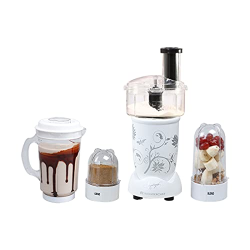 Nutri-Blend Compact Food Processor With Atta Kneader, 400W, 22000 RPM Mixer-Grinder, Blender, Chopper, Juicer, SS Blades, 4 Unbreakable Jars, 2 Years Warranty, White, E-Recipe Book By Chef Sanjeev Kapoor