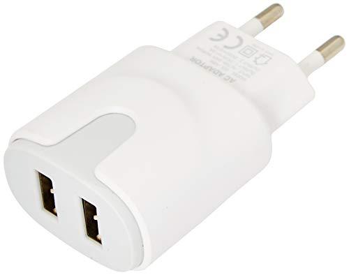 Netadapter, kleur USB, voor Wiko View 3 Lite, smartphone, tablet, dubbele stekkerdoos, 2 poorten, AC lading (grijs)