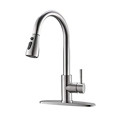 AIMADI Touch On Kitchen Faucets with Pull Down Sprayer - Touch Activated Faucet Single Handle Smart Kitchen Sink Faucets with Deck Plate,Brushed Nickel
