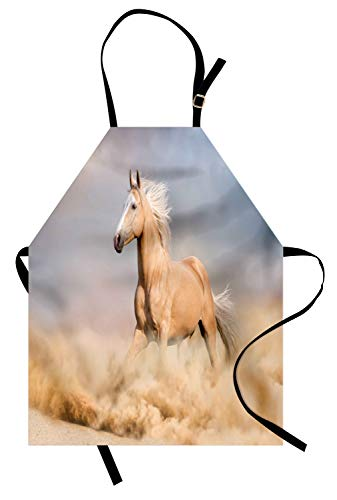 ABAKUHAUS paarden Keukenschort, Palomino Zandwoestijn, Unisex Keukenschort met Verstelbare Nekband voor Koken en Tuinieren, Paars Grijs Peach