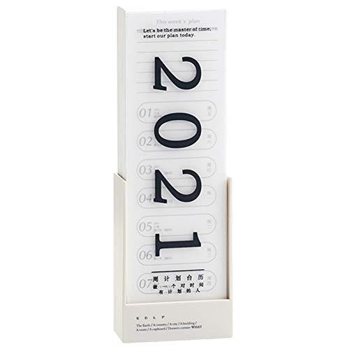 Jaimenalin 2021 Calendario de Escritorio de PlanificacióN Semanal Reloj Diario en Bloc de Notas Tarjeta de Recordatorio de Escritorio Creativa DecoracióN PequeeA