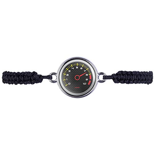 Mylery Armband mit Motiv Drehzahl-Messer DZM RPM Umdrehungen Instrument Anzeige Carbon Silber 16mm
