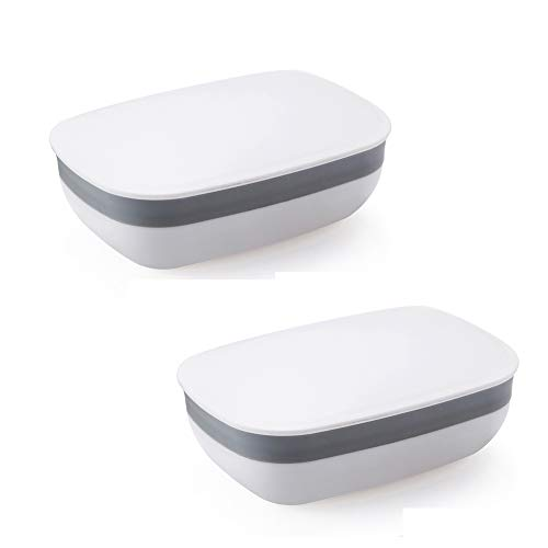 Snowkingdom 2 Pcs Travel Soap Holder Dish Case with Strong Sealing, Portable Leak Proof - White Pack of 2