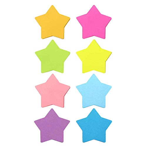 Star Shape Sticky Notes 8 Color Bright Colorful Sticky Pad 75 Sheets/Pad Self-Sticky Note Pads (8 Pads)