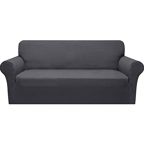 Granbest Modern Couch Cover Stylish Pattern Sofa Covers for 3 Cushion Couch Durable Furniture Protector 1-Piece Sofa Slipcover with Non-Slip Foam Elastic Bottom(Large, Gray)