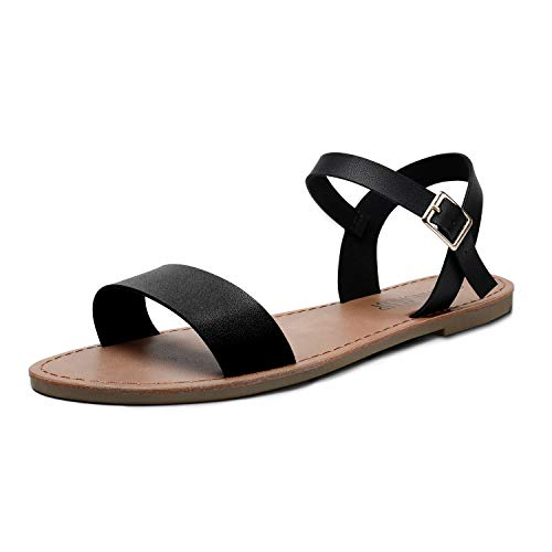 SANDALUP Women's Soft Faux Leather Open Toe and Ankle Strap Buckle Flat Sandals Black 08