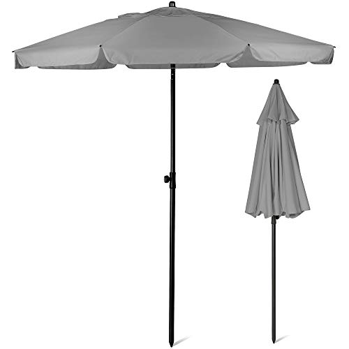 SUNMER 2M Grey Beach Umbrella, Beach Parasol,Garden Outdoor Parasol With Tilt Mechanism