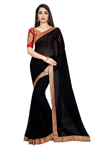Anand Sarees Women's Chiffon Saree With blouse piece