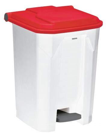 Poubelle à pédale Utilo - 50l - blanc/rouge