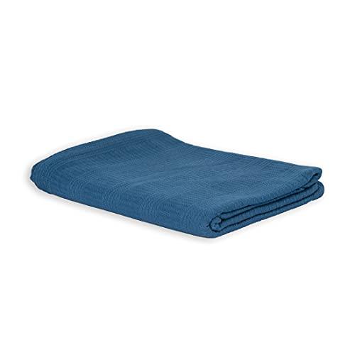 LANGDHUUS Colcha Original de Piqué   100% algodón orgánico   Manta de Verano   Manta de sofá   Colcha de Cama (Azul distanciado, 130 x 150 cm)