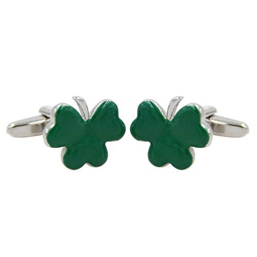 Amosfun Shamrock manschettenknöpfe grün Herren manschettenknöpfe Saint Patricks Day email Shamrock manschettenknöpfe Silber glänzend für Kleidung